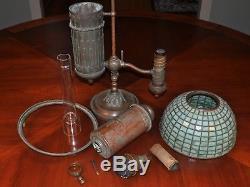 Rare Tiffany Studios Moorish Student Lamp In Oil Signed Leaded Shade Oil Lamp