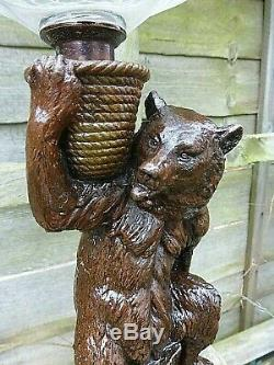 Rare Victorian Bear & Cubs Sculpture Oil Lamp