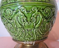 Rare antique 1800's ornate Minton majolica pottery gilt bronze electric oil lamp