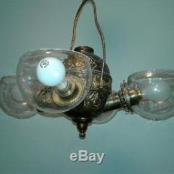 Rare antique brass Quadruple 4 arm Angle Lamp Co. Converted hanging Chandelier
