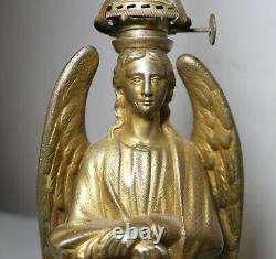 Rare antique figural 1800's Archangel Michael solid gilt bronze oil burning lamp