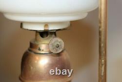 Rare antique miniature salesman sample bronze glass student oil lamp brass