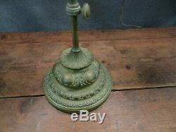 Rare antique oil lamp 19th c liberty bell double student lamp green glass shades