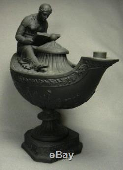Rare pair antique Wedgwood Vestal oil lamps in Black Basalt, c. 1850