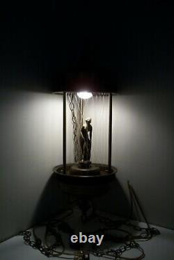 Retro Vintage 70's Rain Mineral Oil Metal Hanging Swag Lamp 30 Nude Goddess