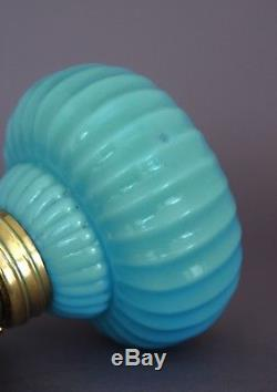 SCARCE Antique Opaque Blue Miniature Oil Lamp, with Ribbed Base, S1-176