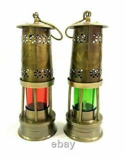 Set of 2 Brass Maritime Oil Lamp Lantern 8 Nautical Ship Boat Light Lantern