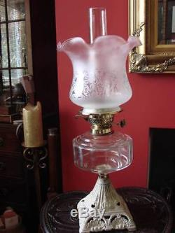 Shabby Chic, Victorian Oil Lamp, Cast Base, Clear Glass Font, Pink Etched Shade