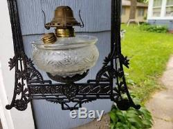 Signed Chas. Parker Heavy Cast Iron Frame Iron Horse Hanging Lamp