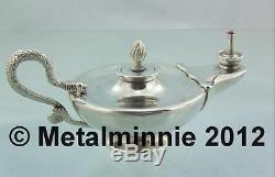Solid Silver Edwardian Aladdin's Lamp Oil Table Cigar Lighter