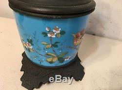 Stunning Antique Aesthetic Movement Oil Lamp Base With Hand Painted Bird Flowers