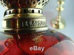Stunning Antique Candlestick Peg Lamp / Oil Lamp, Cranberry Glass Shade & Font