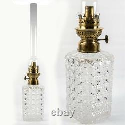 Stunning Antique French Baccarat Crystal Diamond-Cut Oil Lamp, Lantern, c. 1860s