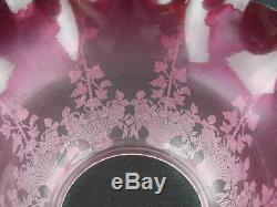 Stunning Antique Graduated Cranberry Satin Glass Etched Oil Lamp Shade 4 Fitter
