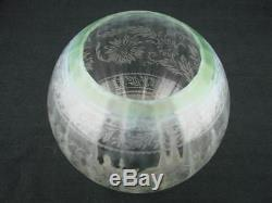 Stunning Fully Etched Glass Globe Duplex Oil Lamp Shade Green Tinted Rim