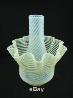 Stunning Vaseline / Opalescent Swirled Design Oil Lamp Shade & Duplex Chimney