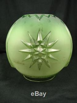 Stunning Victorian Green Satin Glass Globe Shade For Duplex Oil Lamp, 4 Fitter