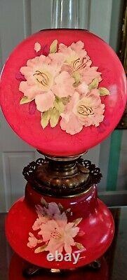 Stunning Victorian antique Gone with the Wind GWTW parlor oil lamp