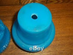 Super Antique Blue Opaline Glass 2 Piece Oil Lamp Base Bird Base
