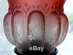 Superb Antique Acid Etched Orange Glass Duplex Oil Lamp Shade