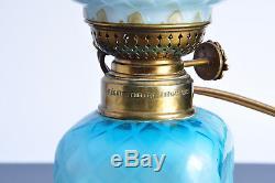 Superbe lampe a huile petrole 1903 Opaline Antique Oil Lamp Glass Jugendstil