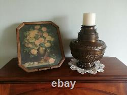 The Pittsburgh Mammoth 1800s Antique Center Draft Victorian Brass Oil Lamp