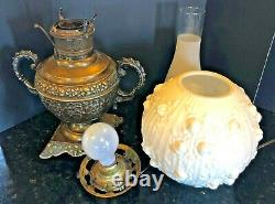 The Rochester Antique Oil Lamp Converted to Electric Fenton Rose Glass Globe