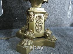 Top quality Antique Bronze figural Argand Lamp double arm Astral oil lamp