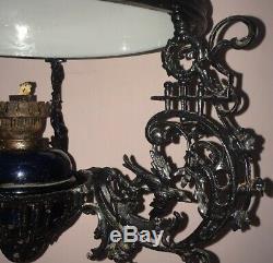 Unique Design Zsolnay Antique Hanging Kerosene Oil Lamp Ceiling from 1912