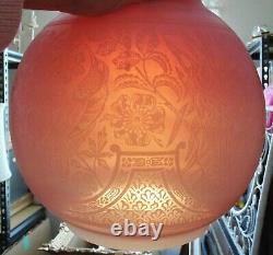 Unusual Antique Lamp Ball Globe Shade Oil Kerosene Solar Astral 6 Fitter Birds