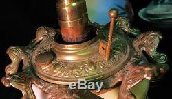 Unusual GWTW / Consolidated glass Victorian Banquet oil lamp / converted 3 way