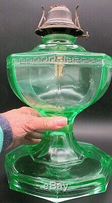 Uranium Glass 8 Paneled Hefty Kerosene / Oil Wick Lamp Unique Antique