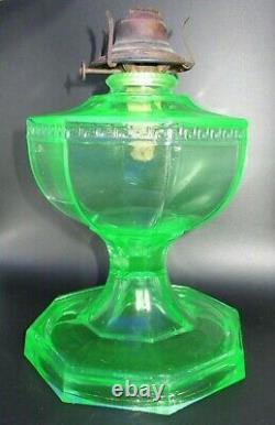 Uranium Green Glass 8 Paneled Hefty Kerosene / Oil Wick Lamp Unique Antique EAPG