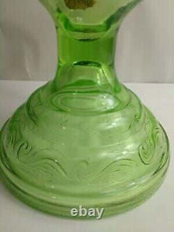 Uranium Green Glass Kerosene / Oil Wick Lamp Unique Antique Original