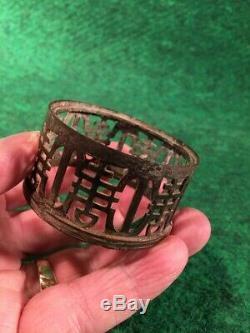 VERY RARE Antique 1700's Brass Opium Era Oil Lamp Original Cut Crystal Globe #C