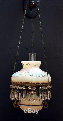 VERY RARE Antique VICTORIA Miniature Hanging Oil Lamp with Prisms, S1-248