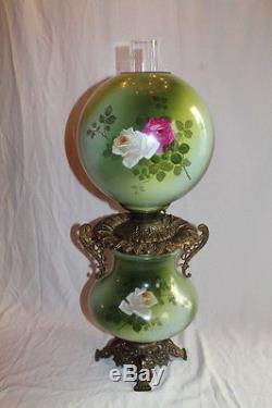 VERY RARE Gone with the Wind Banquet Oil Lamp Hand painted ROSES