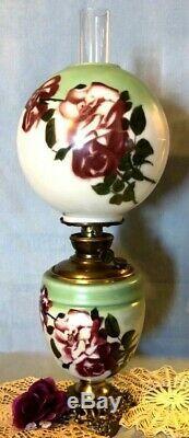 VICTORIAN 1900s SUCCESS PITTSBURGH KERO OIL PARLOR LAMP JUMBO RED ROSES