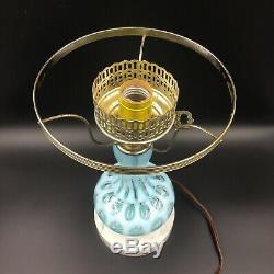 VINTAGE FENTON BLUE COIN DOT Table LAMP MILK GLASS SHADE GWTW Oil Light MARBLE