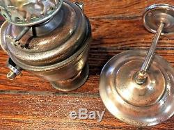 VINTAGE OLD PERKO GIMBALED WALL MOUNTED OIL LAMP WithSMOKE BELL 9 TALL