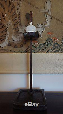 Very Fine & Rare Korean Joseon Dynasty Wood Oil Lamp Stand with Oil Container