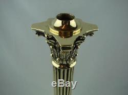 Very Heavy Tall Brass Corinthian Column Oil Lamp Base With Stepped Square Base