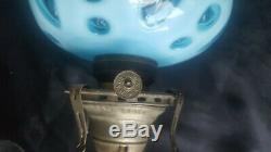 Very Rare Antique Blue Coin Font 19 Wall Brass Bracket Oil Lamp