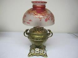 Very Rare Antique Cranberry Cameo Cut Student, Or Parlor Lamp Shade Gold Tracery