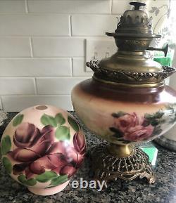 Victorian 1900s P. L. B. & G. Co Success floral oil lamp