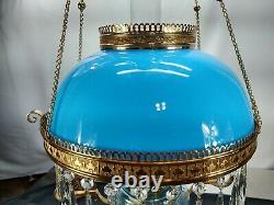 Victorian Ansonia Hanging Oil Parlor Library Lamp Robin Egg Blue Shade & Font