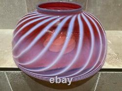 Victorian Antique 13-5/8 Cranberry Opalescent Ribbed Hanging Oil Lamp Shade