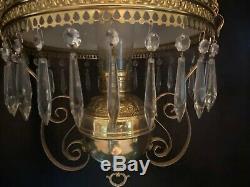Victorian Antique Bradley & Hubbard Hanging Oil Lamp
