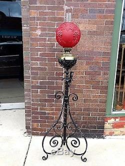 Victorian Antique Bradley & Hubbard Wrought iron Piano oil floor Lamp with Shade