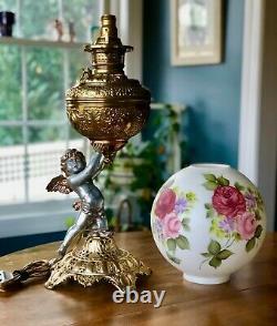 Victorian Banquet Oil Lamp Cherub P & A Royal Converted Electric